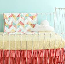 Pink And Yellow Bedding Kids Coral Crib Bedding Nursery Sets All Modern Home Designs
