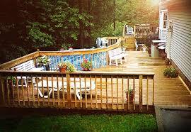 pool u0026 backyard wood pool deck design with above ground pool deck