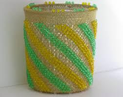 Yellow Wastebasket Gold Waste Basket Etsy