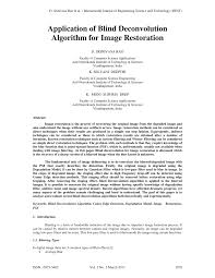 Blind Image Deconvolution Application Of Blind Deconvolution Algorithm For Image Restoration