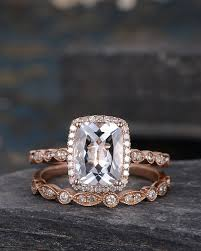 engagement jewelry sets white topaz engagement ring set gold cushion cut bridal