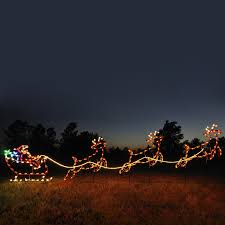 Outdoor Reindeer Christmas Decorations by Shop Holiday Lighting Specialists 4 75 Ft Santa Sleigh And