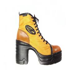 yellow boots s shoes destroy 90 s vintage platform lace up yellow chunky boots 246