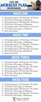 workout plans for beginners at home 4 week beginner s workout plan level one month workout workout