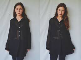 black sheer blouse sheer blouse button up on the hunt