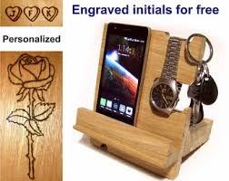Desk Valet Charging Station Docking Station Men Phone Holder Wood Nightstand Valet Wood