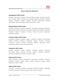 Resume Verb Power Verbs To Be Used In Resume