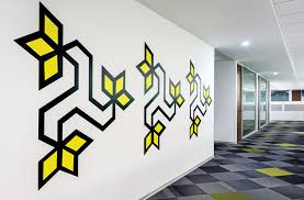 All The Wall Graphics In This Office Were Inspired By Indian Folk - Wall graphic designs