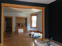 farrow and ball black blue walls with oak wood trim farrow and