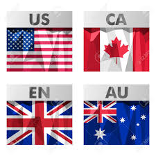 Slavic Flags Usa Canada Britain And Australia Flags Icons Set In Polygonal