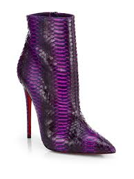 So Ankle Boots Christian Louboutin So Kate Watersnake Ankle Boots In Purple Lyst