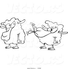vector of a cartoon sheep sticking its tongue out at another sheep
