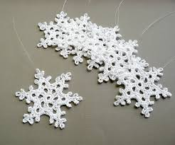 6 crochet ornaments large snowflake b90 in white