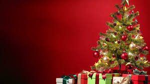 christmas tree with gifts on the red background simply wallpaper