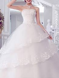 Dress For Wedding Party White Sweetheart Ball Gown Tiered Beading Dress For Wedding On