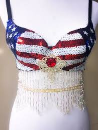 Sailor Mars Inspired Rave Wear Theme Wear Dance by Women U0027s Sequin Butterfly Top Patriotic Usa American Flag Rave