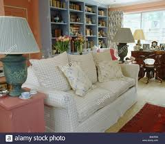 White Pink Living Room by Comfy White Checked Sofa In Pink Living Room With Blue Bookshelves