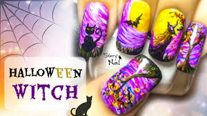 halloween witch freehand nail art tutorial youtube