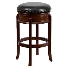 Leather Saddle Bar Stools Furniture Black Lacquer Metal Backless Bar Stool With Round