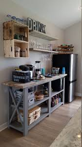 love this little kitchenette bar area made with a console plan and