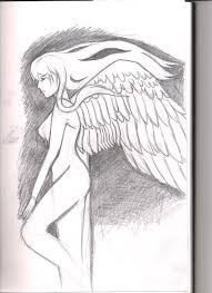 angel weapon pencil skecth drawing by megan connell