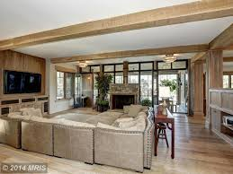 Room With Tv Contemporary Family Room With Stone Fireplace U0026 Exposed Beam In
