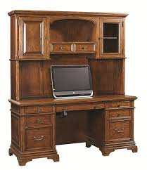 Double Pedestal Desk With Hutch by Traditional