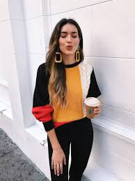 5 color block sweaters for fall thrifts and threads