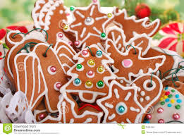 homemade gingerbread cookies for christmas tree stock image