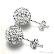 diamond stud earrings for women 2018 new women s fashion rhinestone cz flower bud stud
