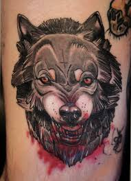 wolf with a bloody wolf tattoos