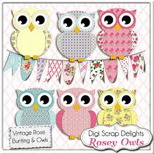 owl clip art vintage rose owls bunting cath kidston shabby chic