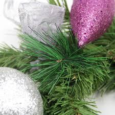 6 u0027 pre decorated silver poinsettia eucalyptus and purple ornament
