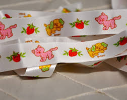 strawberry shortcake ribbon kitten ribbon etsy