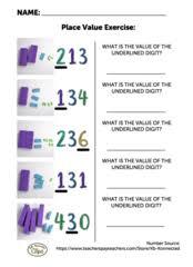free 2nd grade worksheet understanding place value of 3 digit