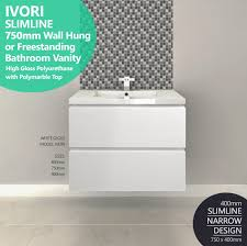 High Gloss Bathroom Vanity by Ivori Slimline 750mm High Gloss White Polyurethane Narrow Vanity