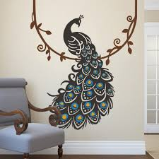 Peacock Feather Home Decor Amazon Com Vinyl Peacock Wall Decal Animal Wall Decal Bird Wall