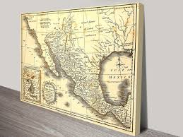 Mexico Wall Map Vintage Map Of Mexico Canvas Art