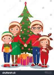 cartoon illustration family christmas tree gifts stock
