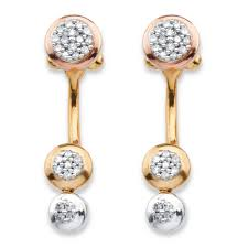front and back earrings s 1 4 tcw diamond cluster front back earrings in 14k gold plated and