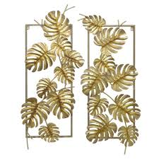 home depot wall decor three hands gold metal tropical leaves wall decor set of 2 10118