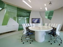 small office meeting room design with beige finish solid wood