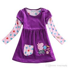 best kids winter clothes baby girls purple dress polka dot sleeves