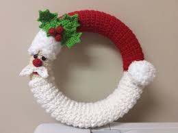 crochet santa wreath tutorial santa decoration winter wreath