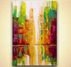 Colorful City Prints Painting Colorful City Abstract Painting Textured 8425