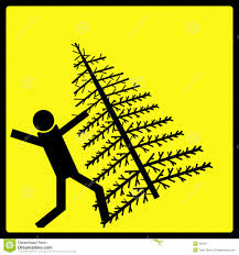 falling christmas tree warning sign stock images image 42034