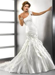 one shoulder wedding dress mermaid one shoulder tiered organza wedding dress with crystals