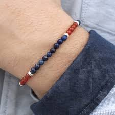 mens beaded jewelry bracelet images Dark blue lapis lazuli red carnelian and sterling silver men 39 s jpg