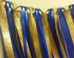 blue and gold ribbon royal prince gold ribbon garland 1st birthday party