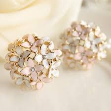stud earrings online designer clove pink blue four leaf flower stud earrings jagobo